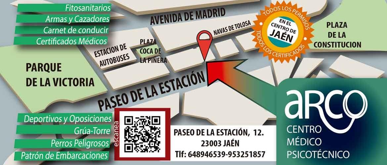Mapa de Jaén centro con la clínica ARCO en el paseo de la Estación.